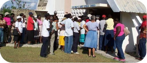 People wait outside clinic to be seen in the early days