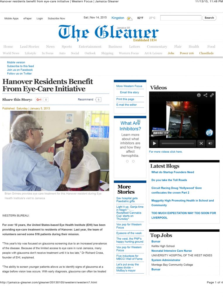 Hanover residents benefit from eye-care initiative | Western Foc